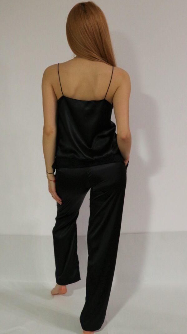 pijama satin negru cu pantalon lung