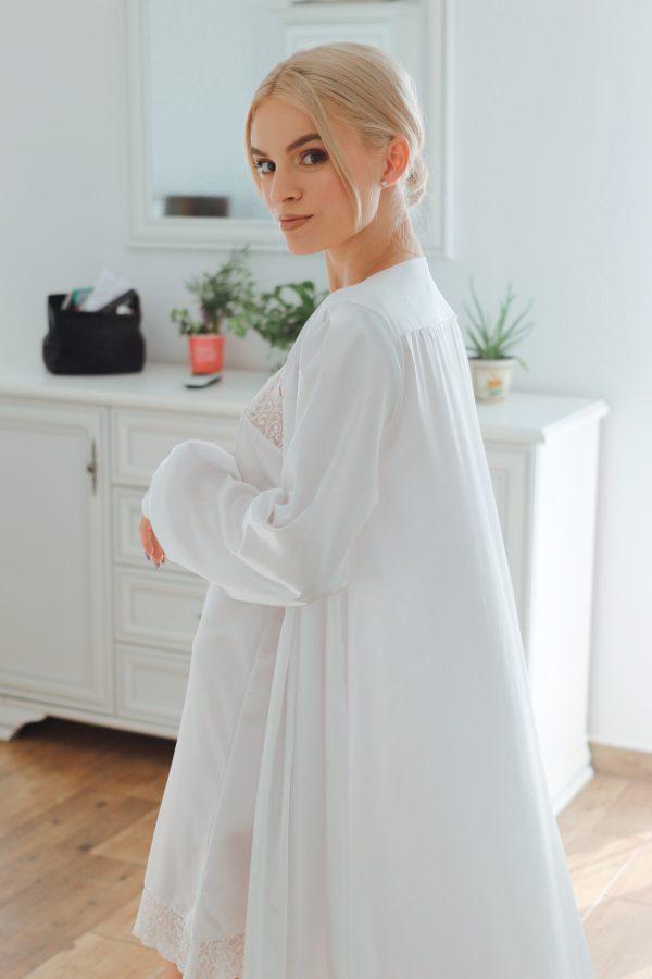 halat alb mireasa satin elegant