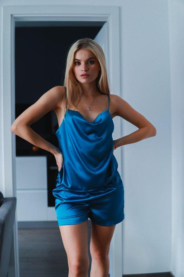 pijama scurta albastru turquaz simpla (3)