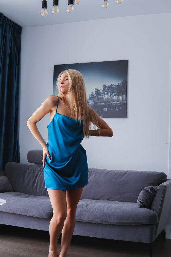 rochita de noapte albastru turquaz simpla (2)