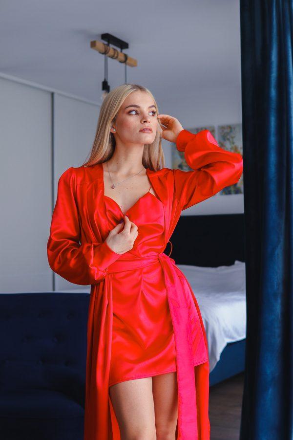 set halat lung si rochita de noapte satin rosu